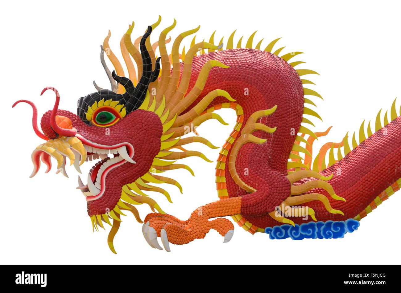 Imagen de dragón chino sobre fondos blancos. Imagen De Stock