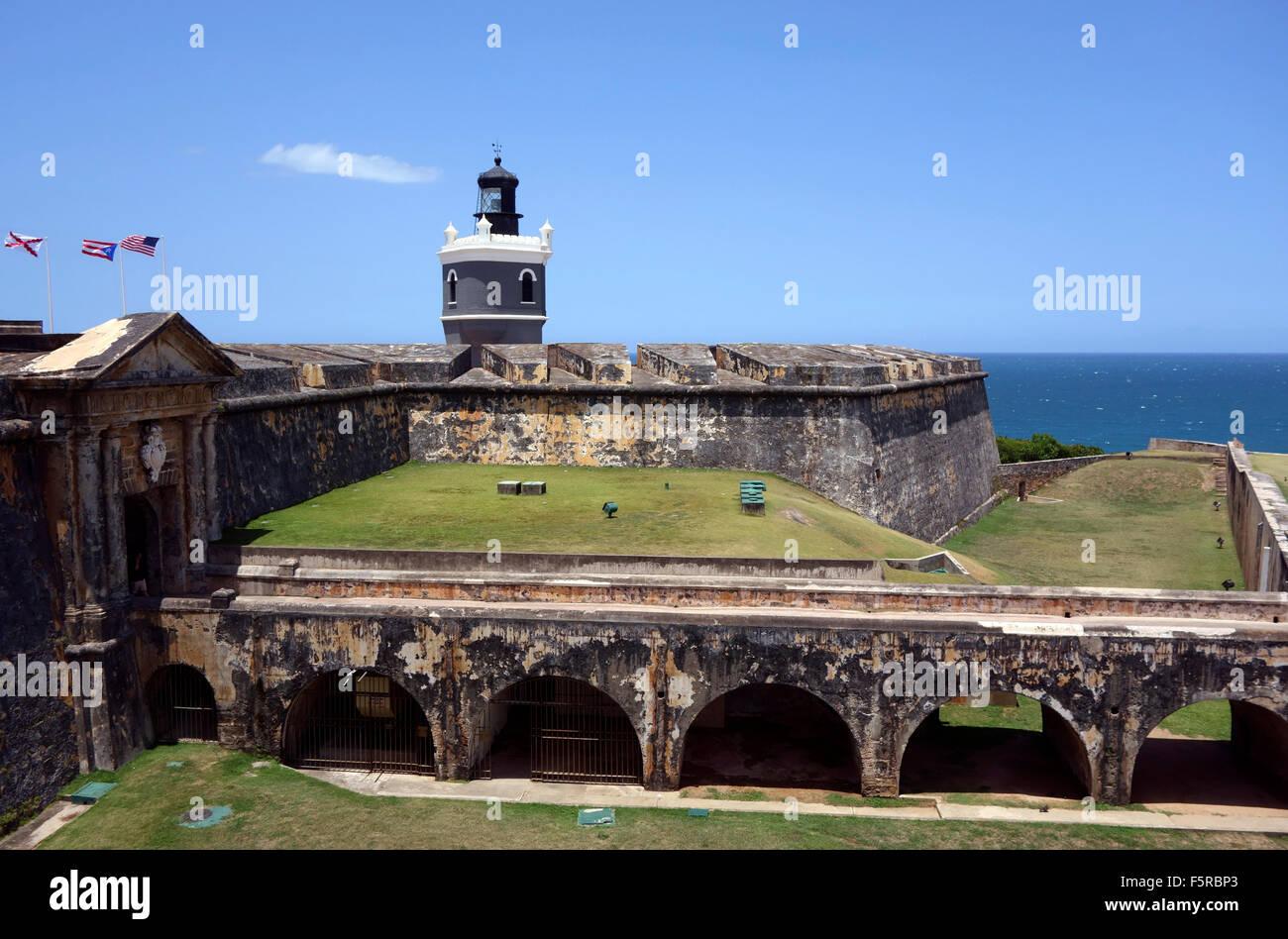 El Morro Fort, San Juan, Puerto Rico, el Caribe Imagen De Stock