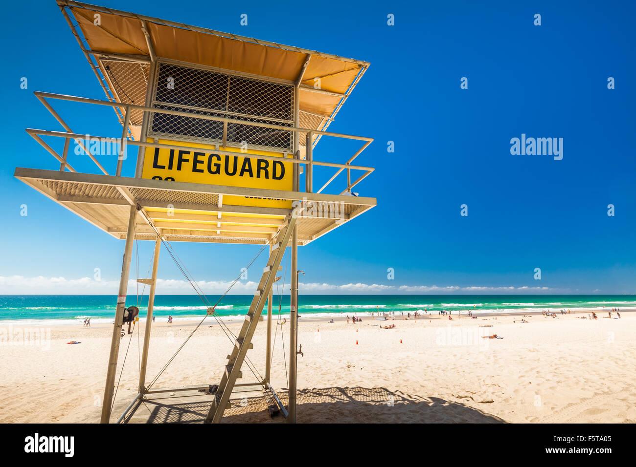 Torre de patrulla de socorrista en la Gold Coast, Queensland, Australia Imagen De Stock