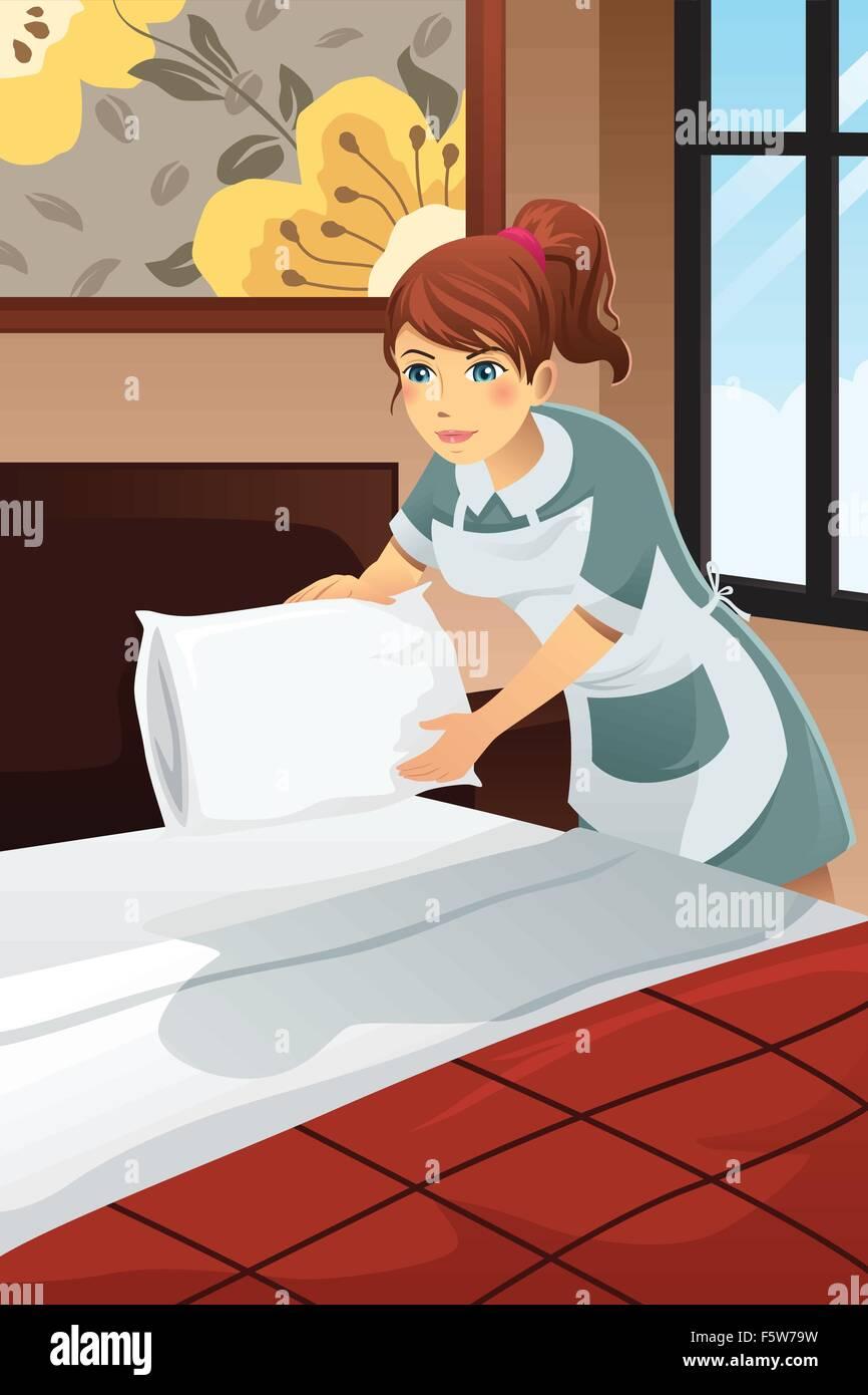 Una ilustraci n vectorial del conserje del hotel hacer la cama de la habitaci n de hotel - Como hacer una cama de hotel ...