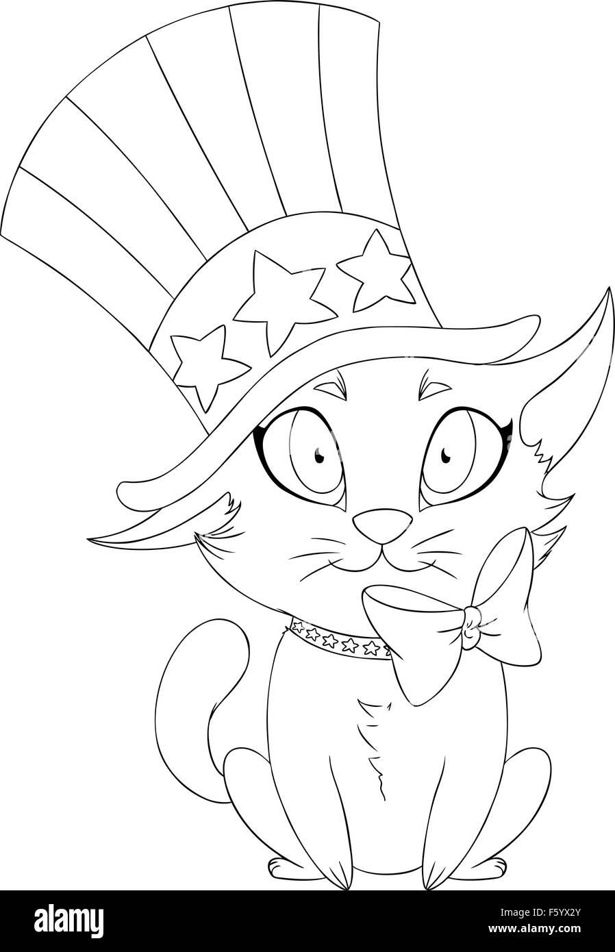 Una ilustración vectorial colorear página de un gatito con sombrero ...