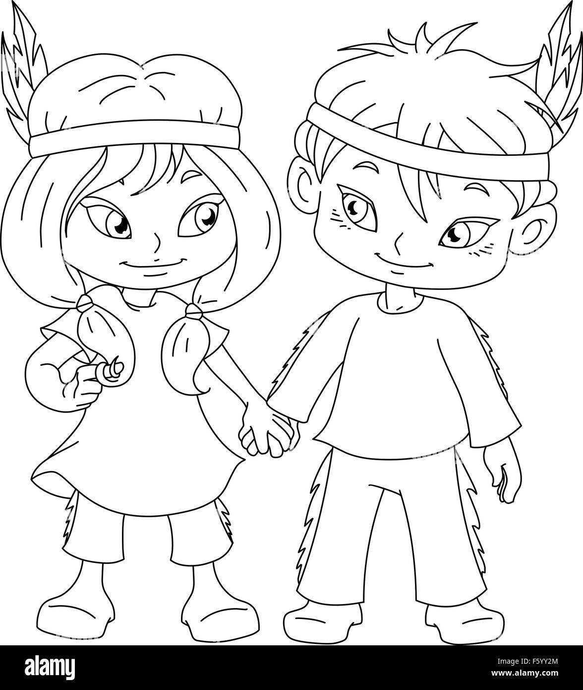 Página para colorear la ilustración vectorial de niños vestidos como ...