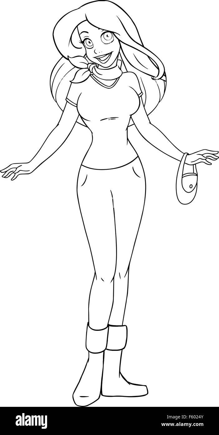 Página para colorear la ilustración vectorial de una adolescente en ...