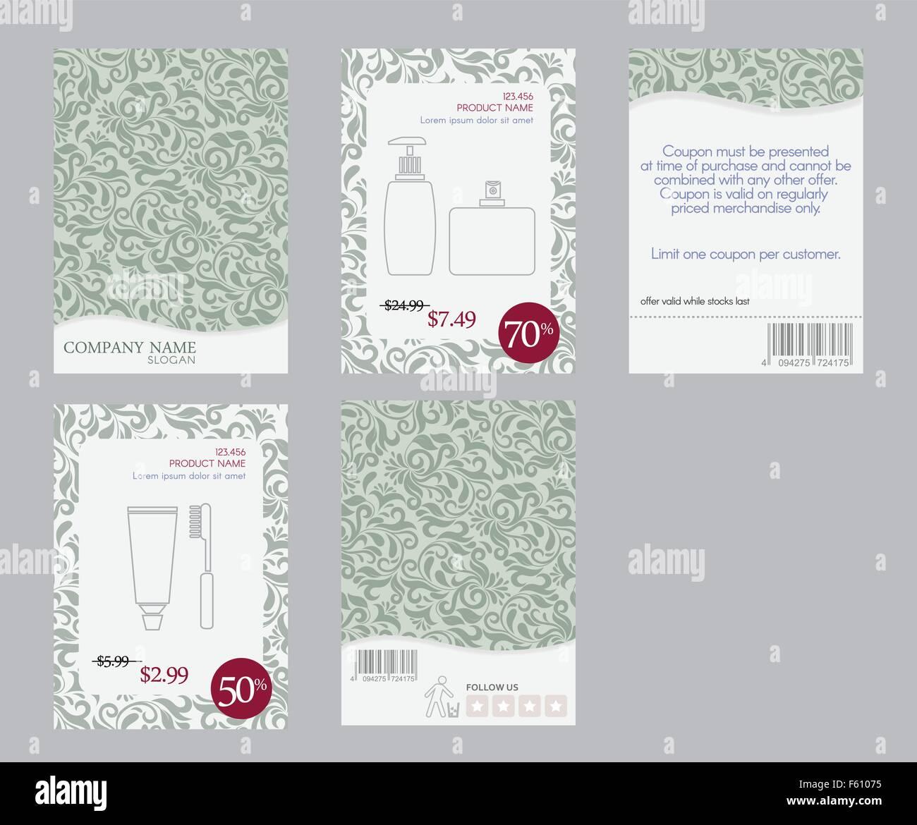 Plantilla de folleto diseño cosmético con tema de damasco verde y ...