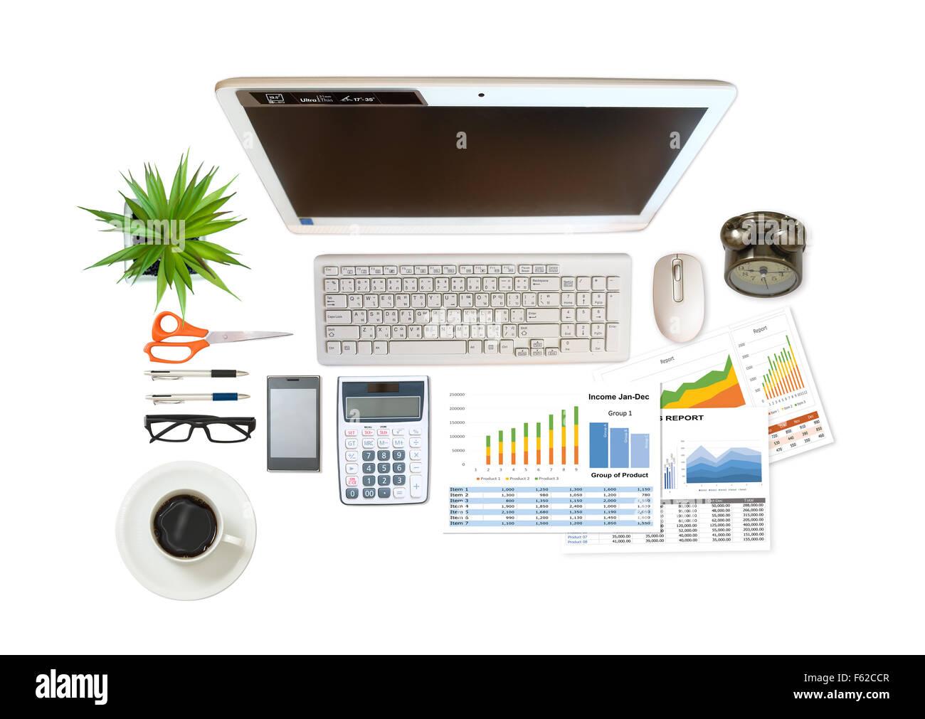 Imagen de empresa y un informe financiero sobre el fondo blanco. Foto de stock
