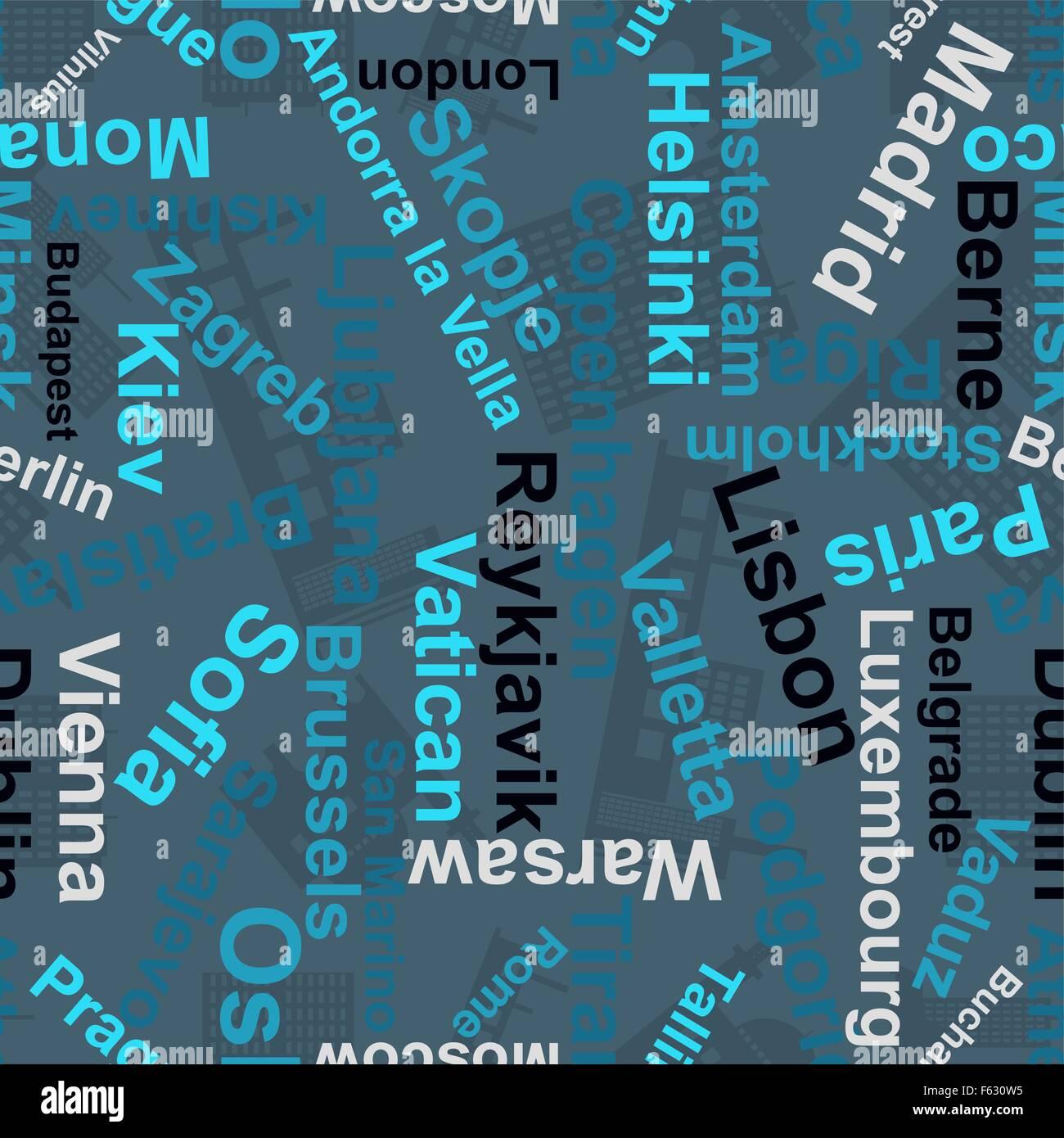 Los antecedentes de los nombres de las capitales de Europa.Vector Imagen De Stock