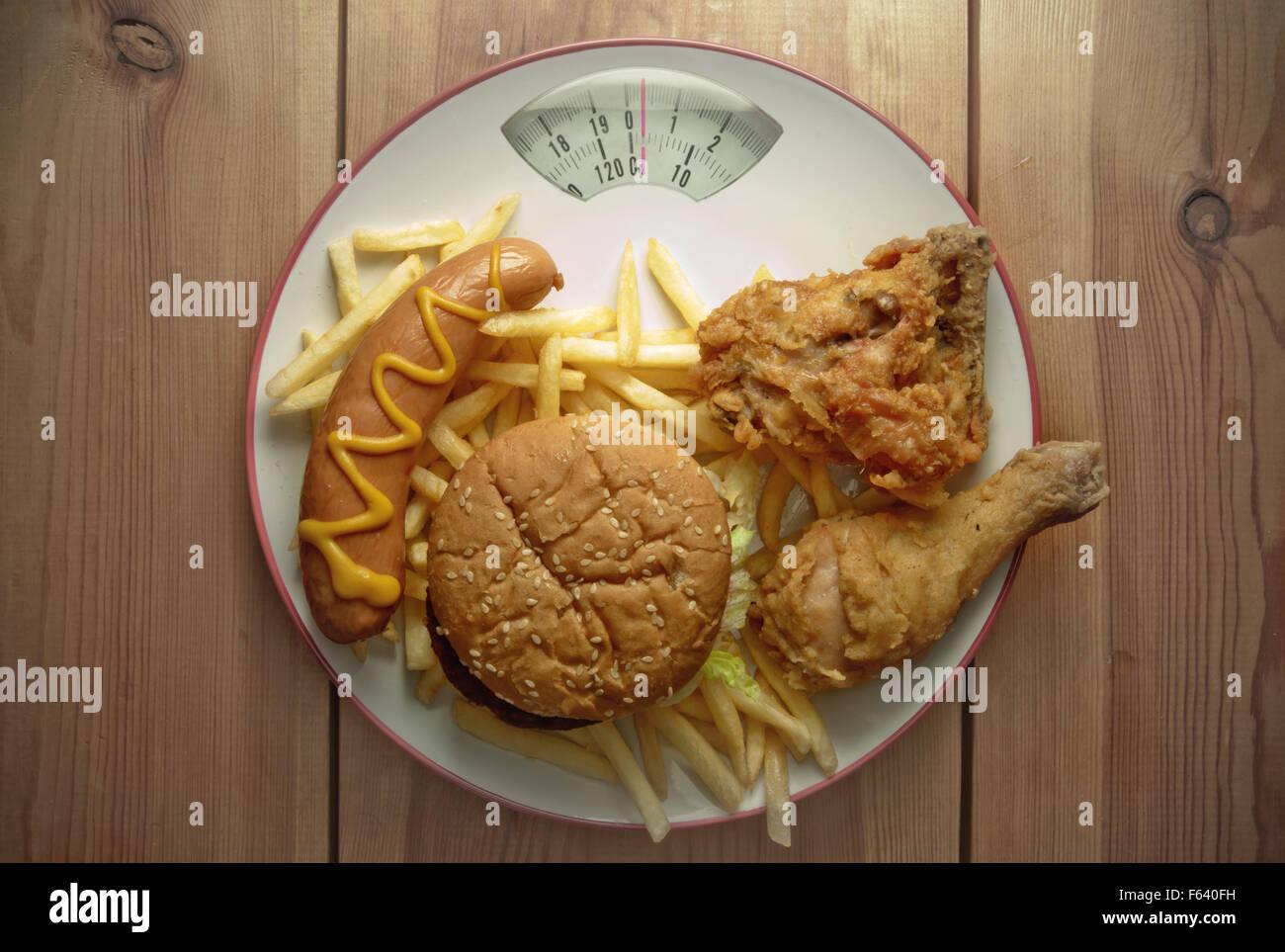 Plato repleto de comida basura y básculas Imagen De Stock