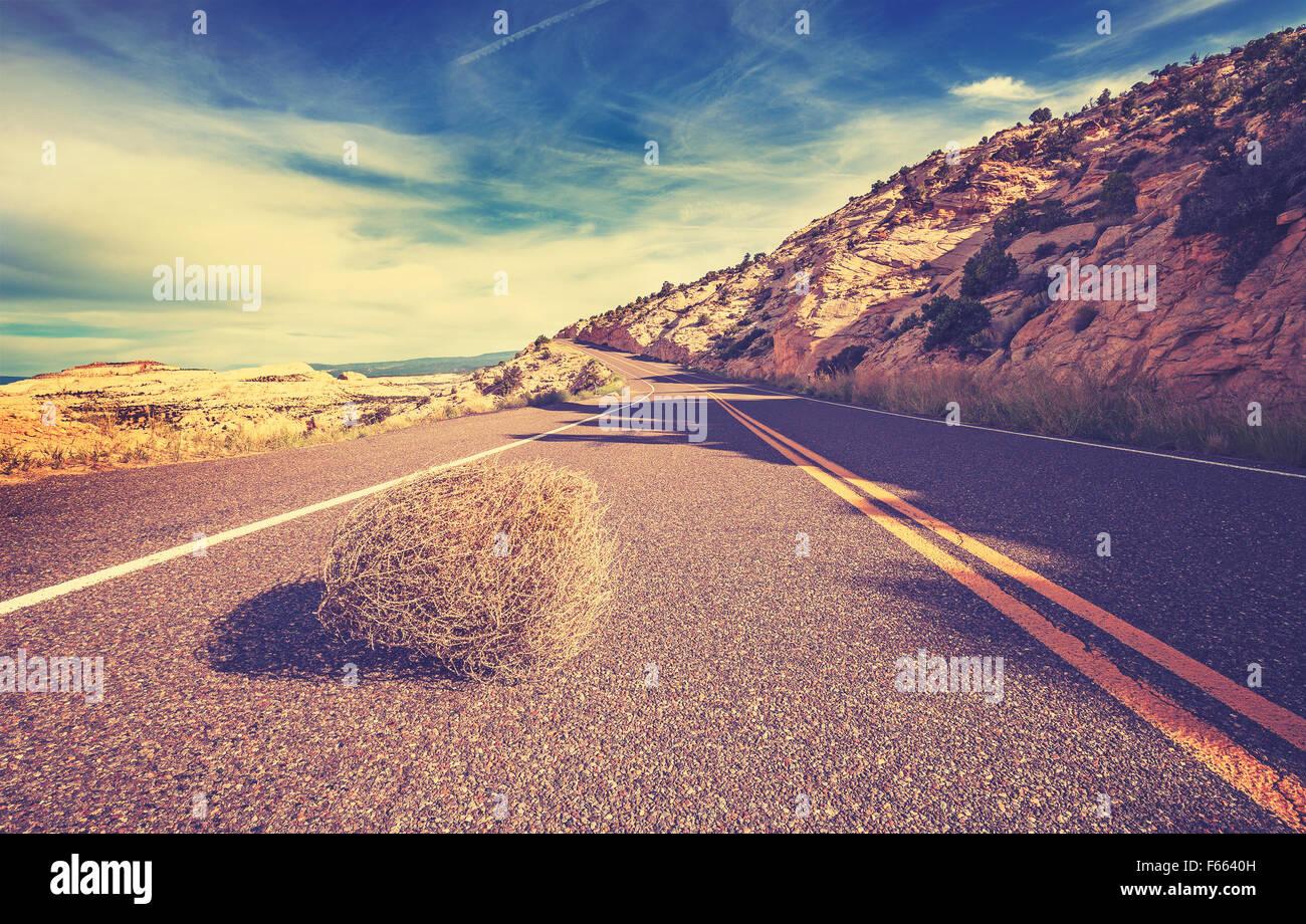 Tonos Vintage tumbleweed en carretera vacía, viajes concepto imagen. Imagen De Stock