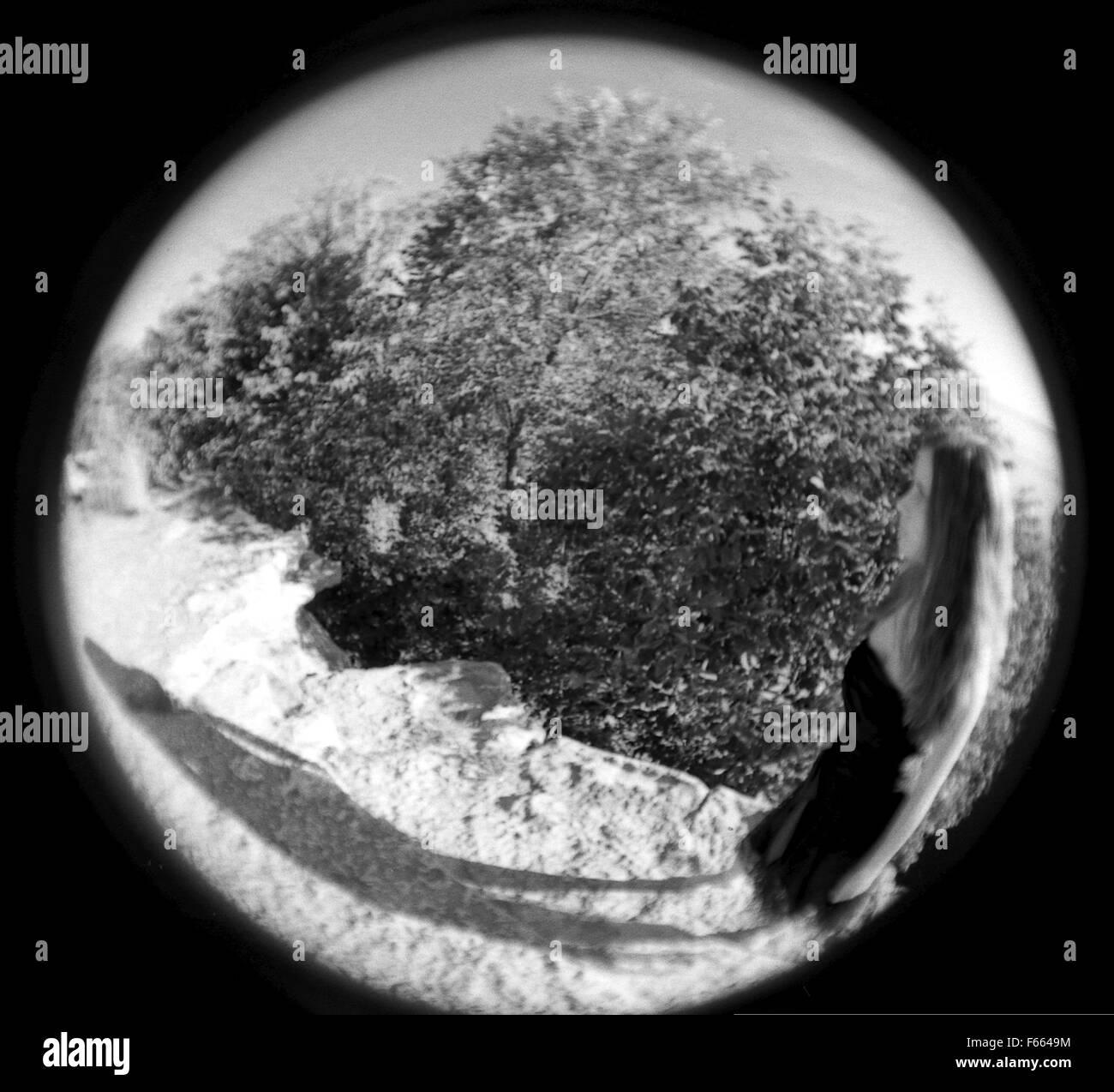 Fisheye lente fotografía en blanco y negro de una figura de acantilado con árboles en el fondo abstracto. Foto de stock