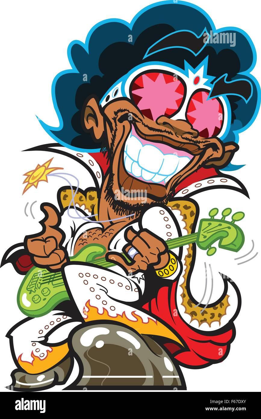 Super Funky sonriente bajista sonriente y plasmando el Bass Ilustración del Vector