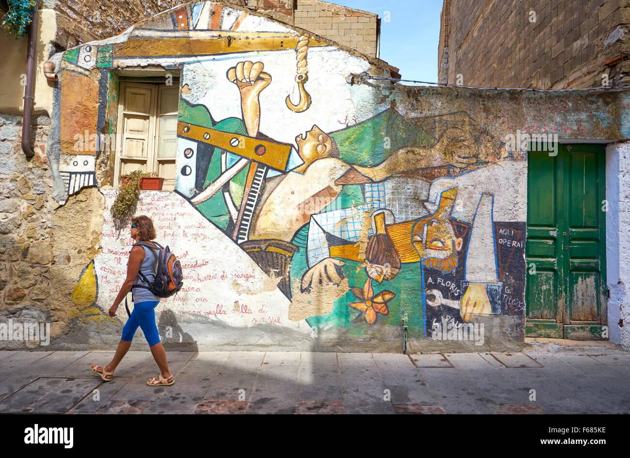Murales en Orgosolo Village, en la calle, la pintura de la pared, Cerdeña, Italia Imagen De Stock