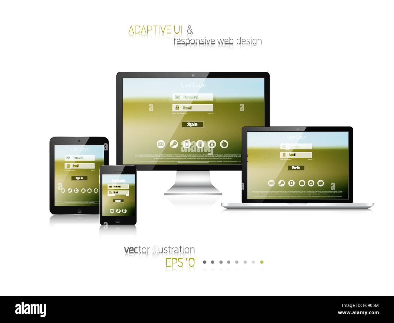 Diseño web sensible. Interfaz de usuario adaptable. Imagina ...