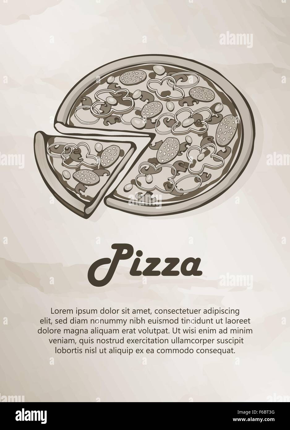 Pizza. Menú Vintage, Etiqueta, logotipo, Frame, Folletos. Plantillas ...