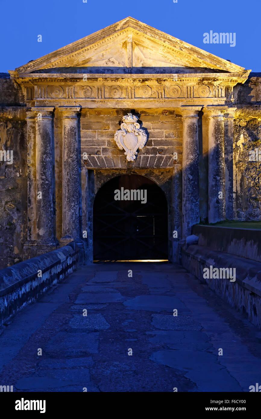 De entrada, el Castillo de San Felipe del Morro (El Morro), Sitio Histórico Nacional de San Juan, el Viejo Imagen De Stock