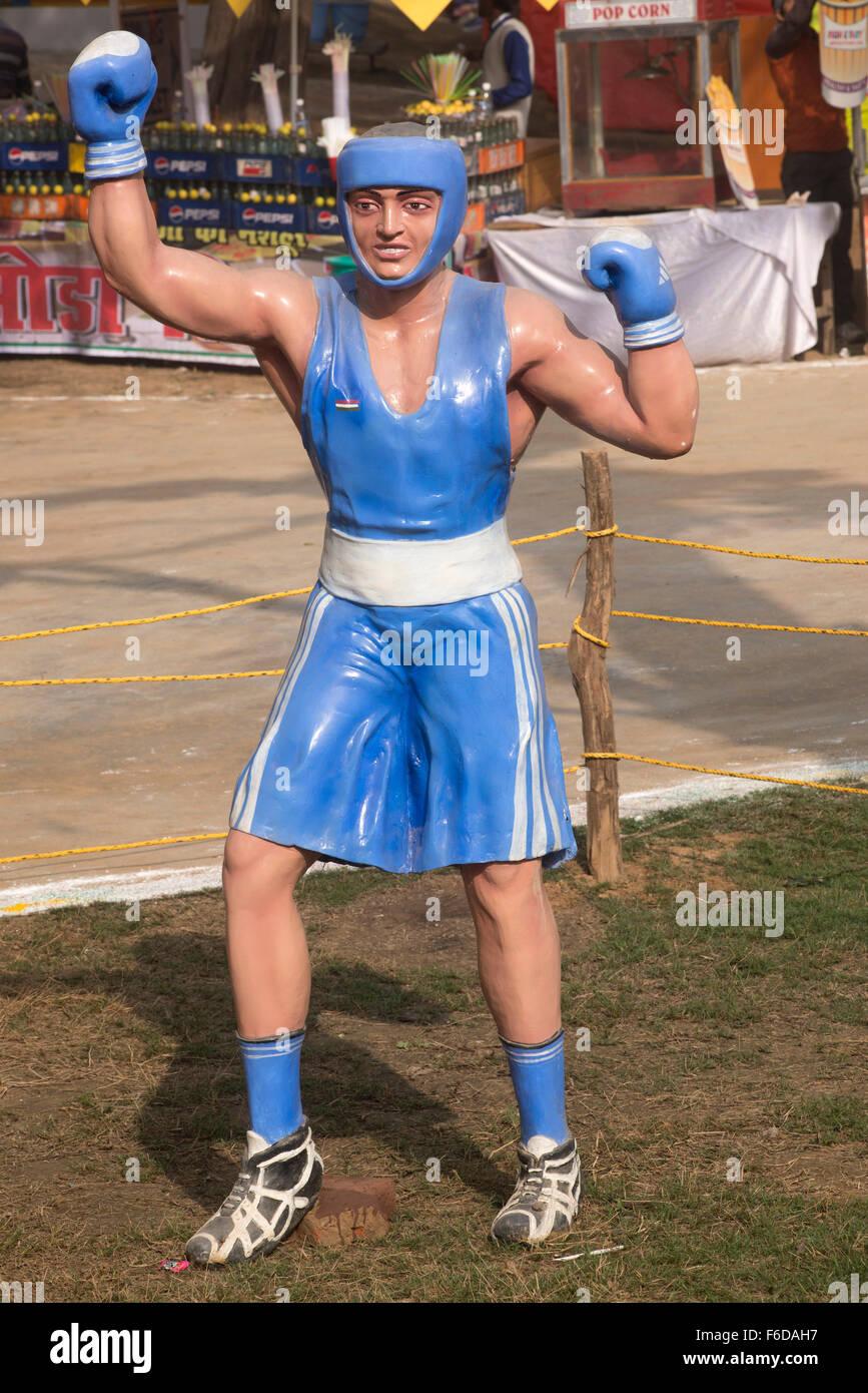 Boxeo boxeador en jaulas, surajkund mela, Faridabad Haryana, India, Asia Imagen De Stock