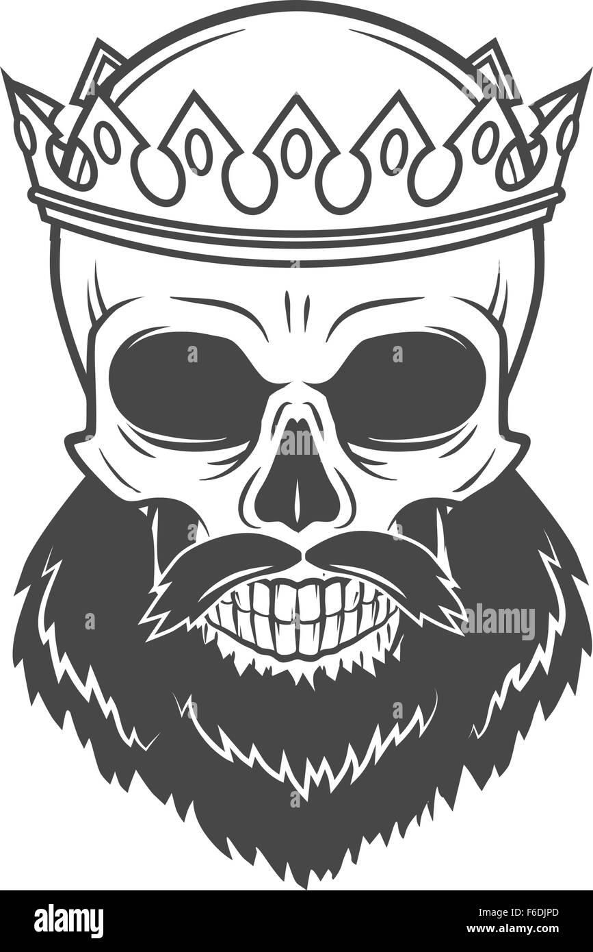 Cráneo barbudo rey con corona. Vintage cruel tirano retrato diseño ...