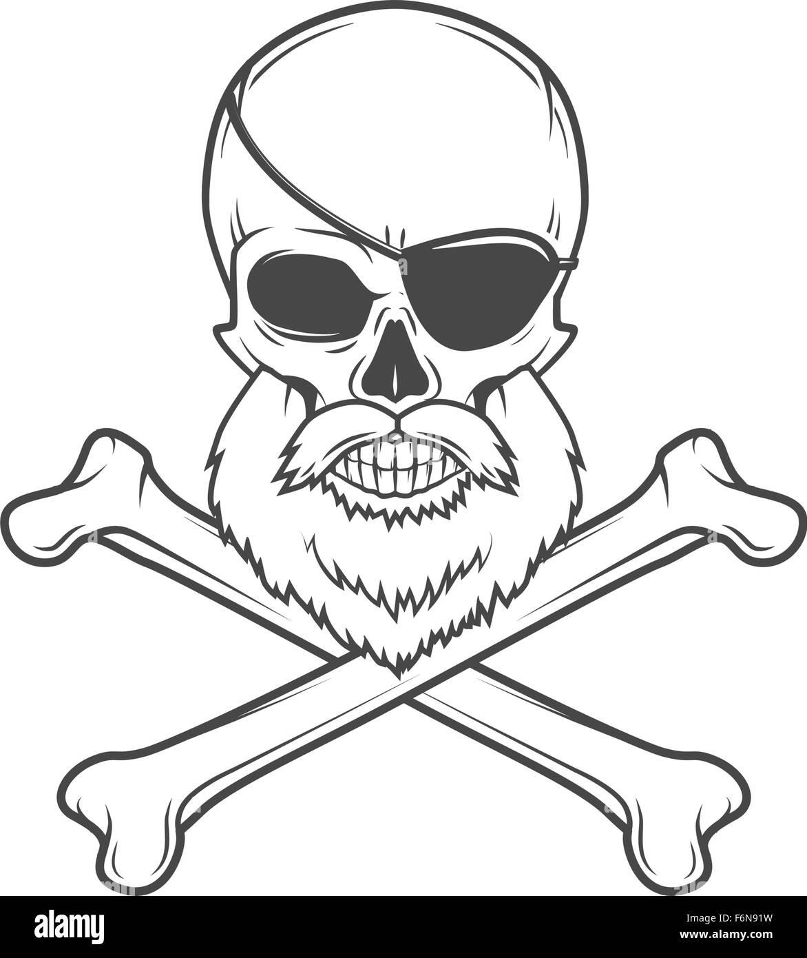 Cráneo con barba de pirata, parche en el ojo y huesos cruzados ...