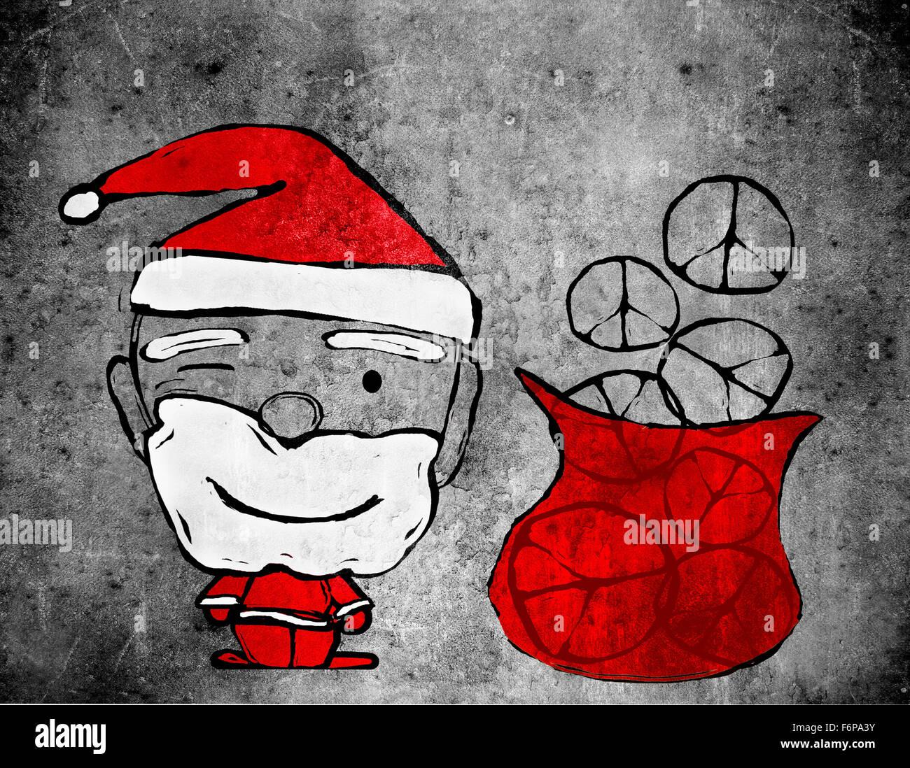 Santa Claus y símbolos de paz ilustración digital Imagen De Stock