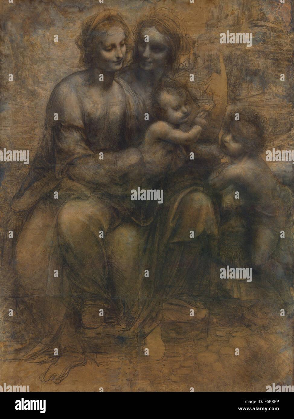 Leonardo da Vinci - el Burlington House Cartoon Imagen De Stock