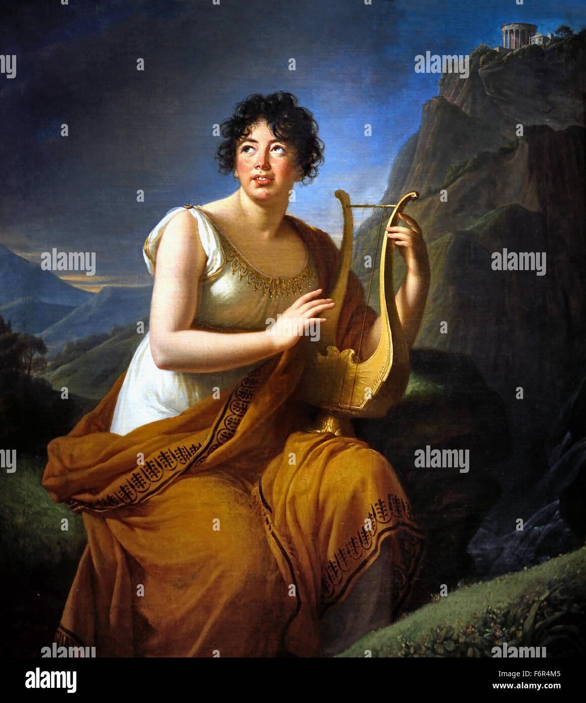 Retrato de Madame de Staël Corinne como en Cape Misenum 1809 Musée d'Art et d'Histoire de Ginebra, Marie Louise Élisabeth Vigée Le Brun 1755 -1842 París Francia Francia ( rococó pintor neoclásico ) Foto de stock