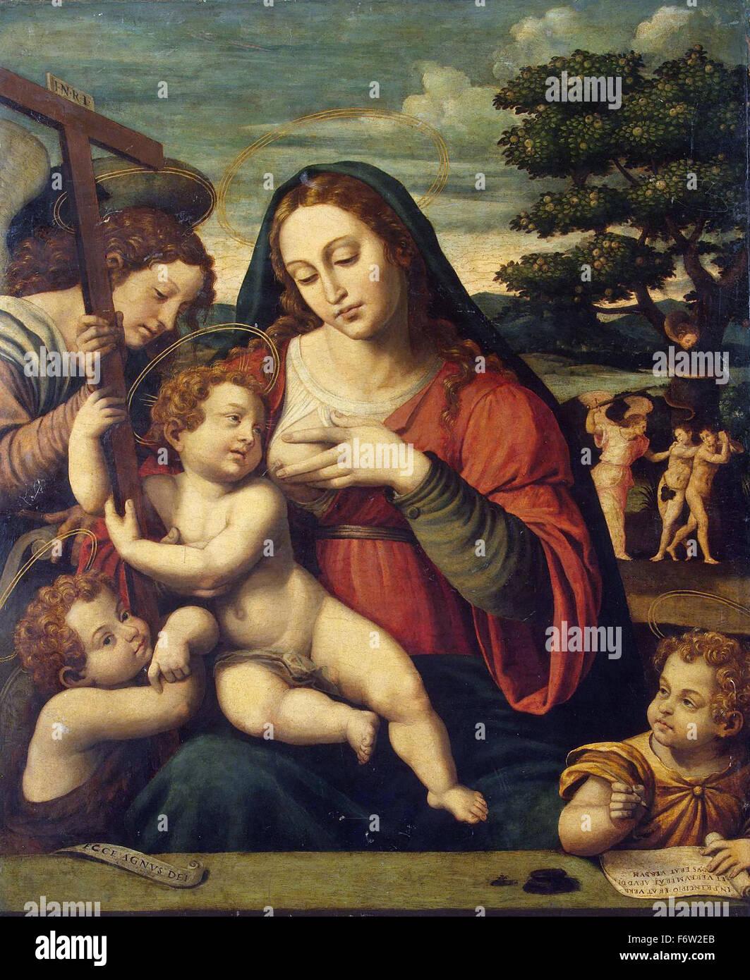 Juan de Juanes - La Virgen y el Niño con San Juan Bautista y San Juan el Evangelista Foto de stock