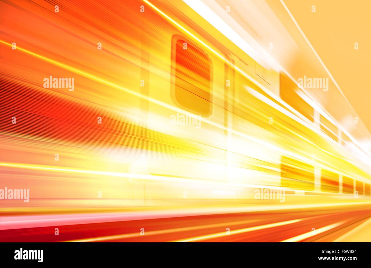 Antecedentes del tren de alta velocidad con el desenfoque de movimiento en el exterior Imagen De Stock