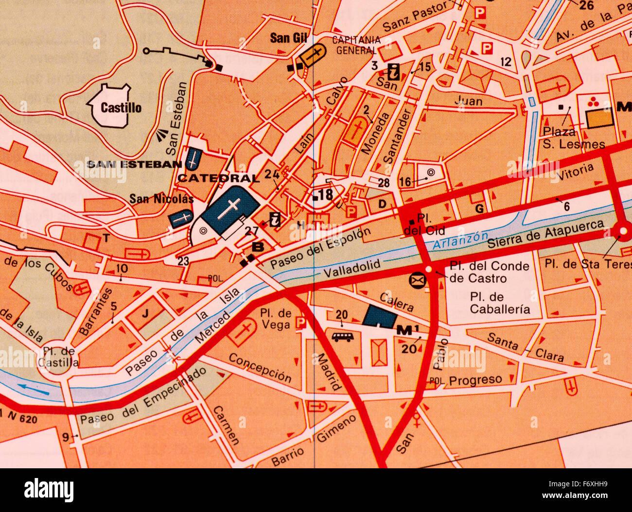 Mapa De Burgos Ciudad.Mapa Callejero De La Ciudad Espanola De Burgos Espana Foto