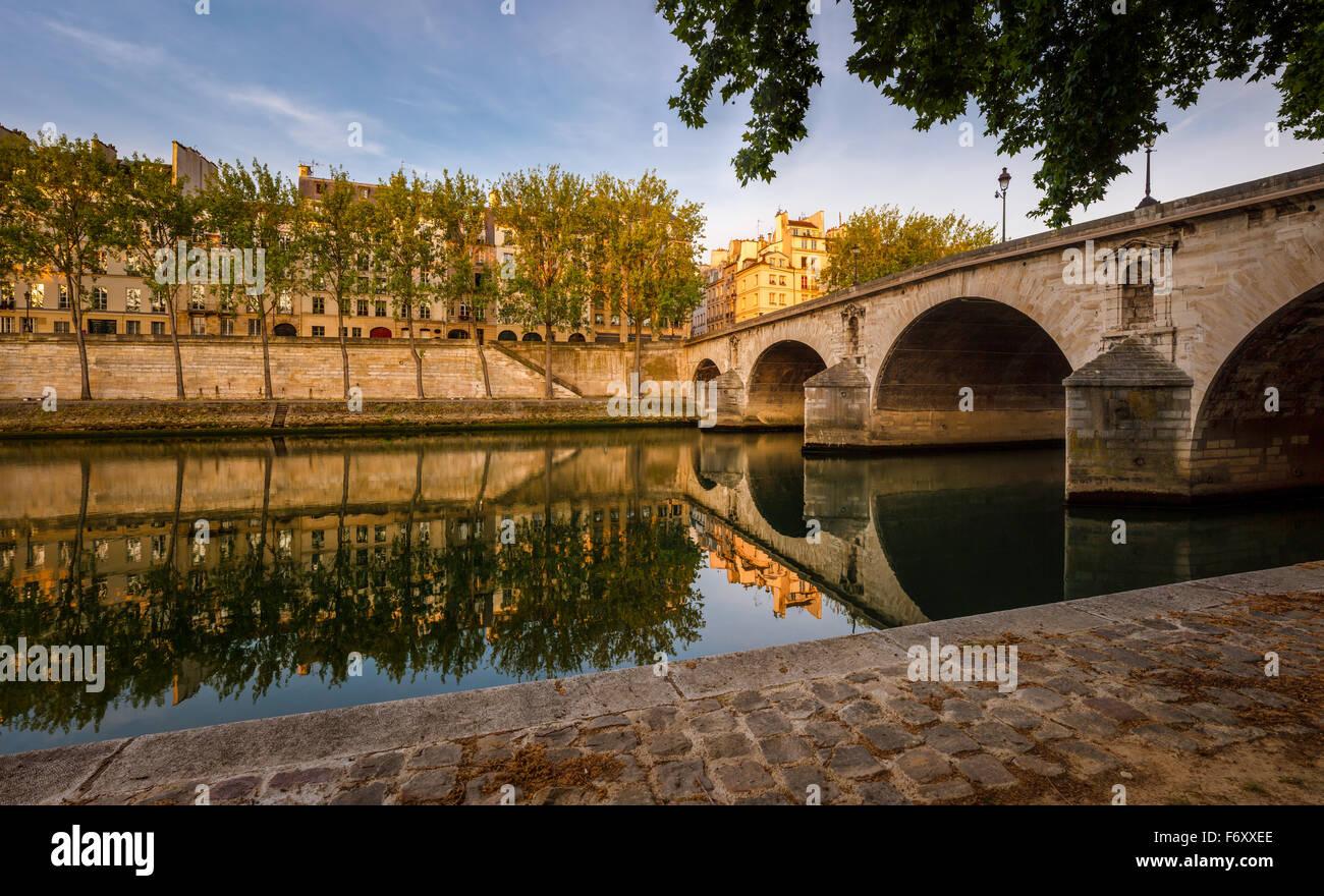 A principios de verano por la mañana en Ile Saint Louis. Aspen árboles que bordean el río Sena banco por Pont Marie y Quai d'Anjou - Paris, Francia Foto de stock