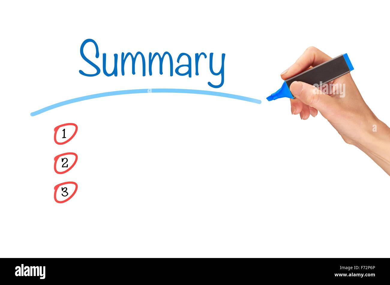 Resumen, escrito en marcador en una pantalla clara. Imagen De Stock