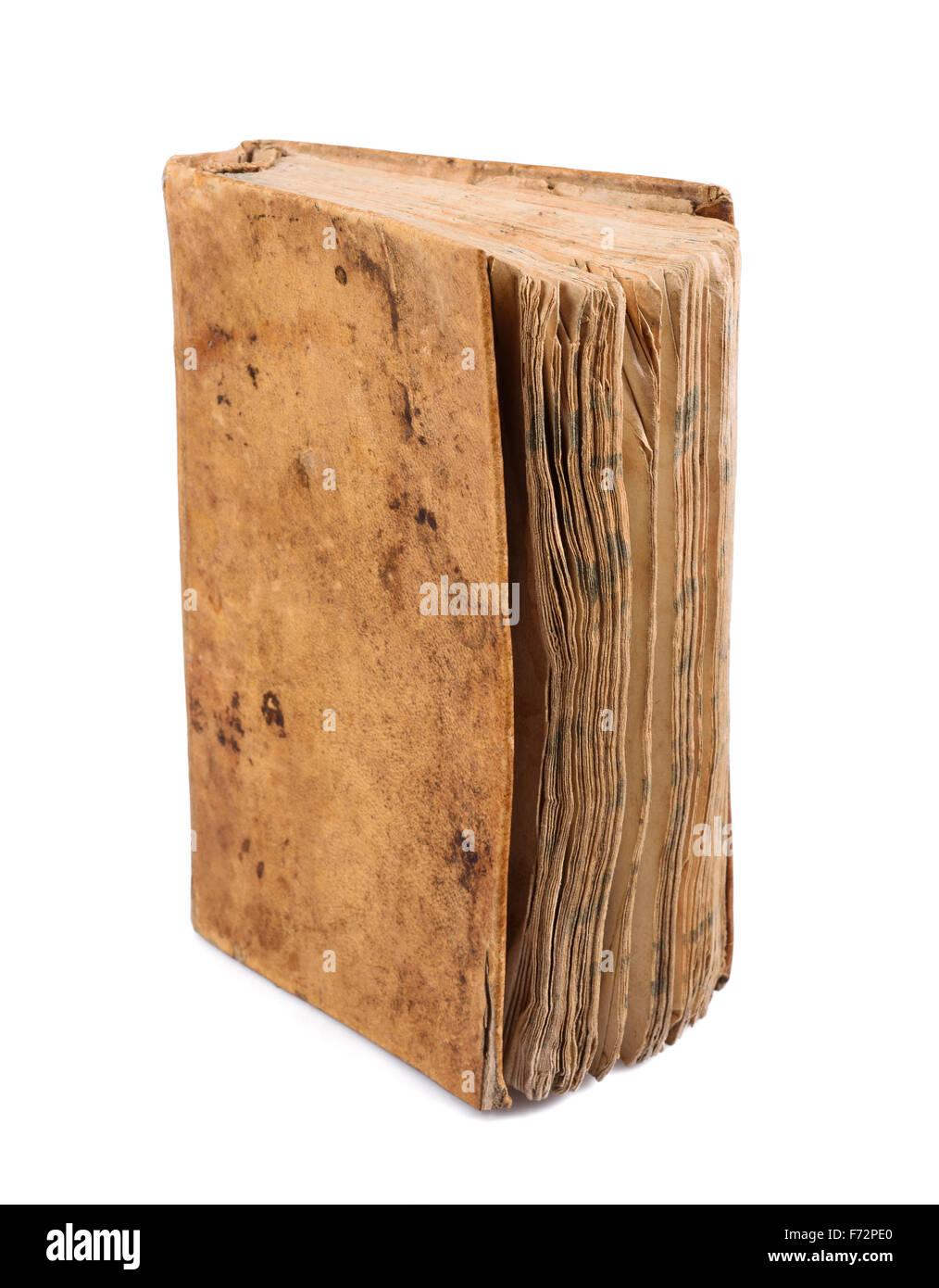 Libro viejo aislado sobre fondo blanco. Foto de stock