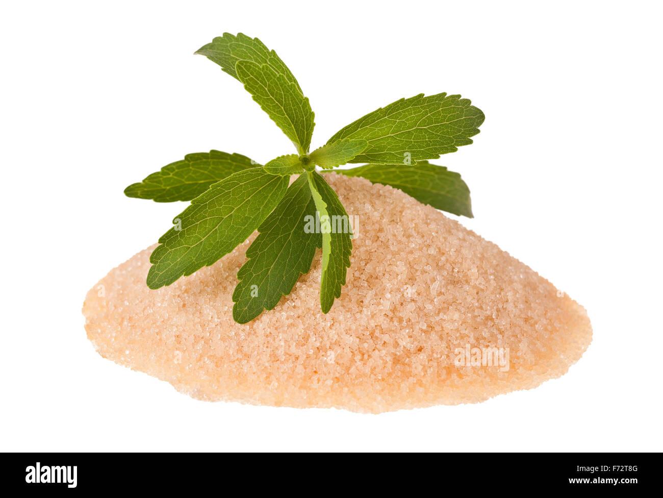 Las hojas de stevia con azúcar moreno Imagen De Stock