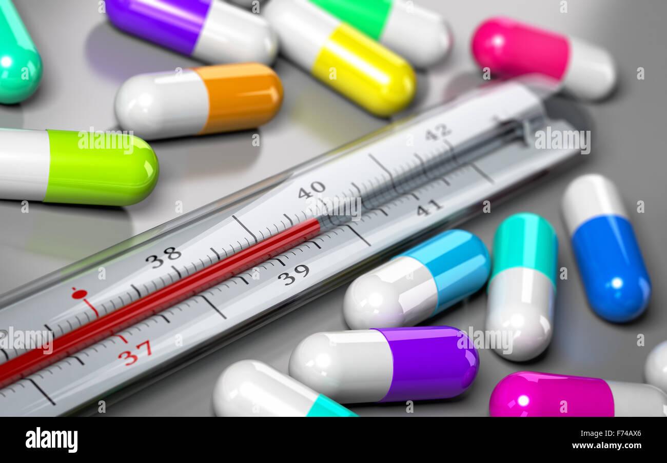 Termómetro con muchas píldoras alrededor sobre fondo gris. Concepto para la ilustración de la imagen Imagen De Stock