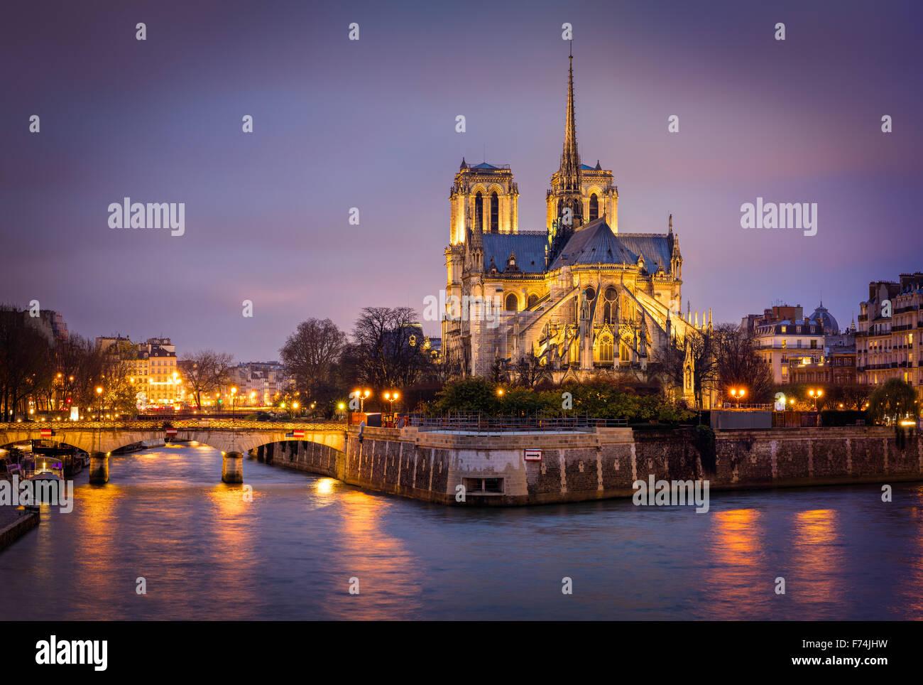 Encendida en la Catedral de Notre Dame en la Ile de La Cite con el Puente del Arzobispo y el río Sena, París, Francia. Foto de stock