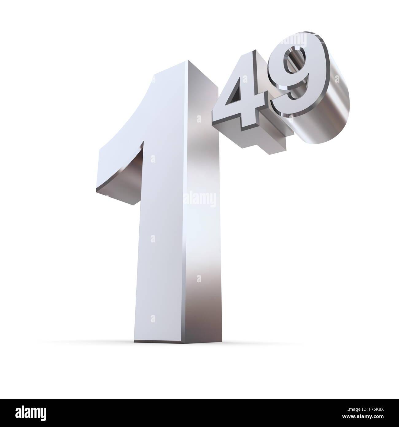 Número de etiqueta de precio sólido 1.49 - Silver-Chrome brillante Imagen De Stock