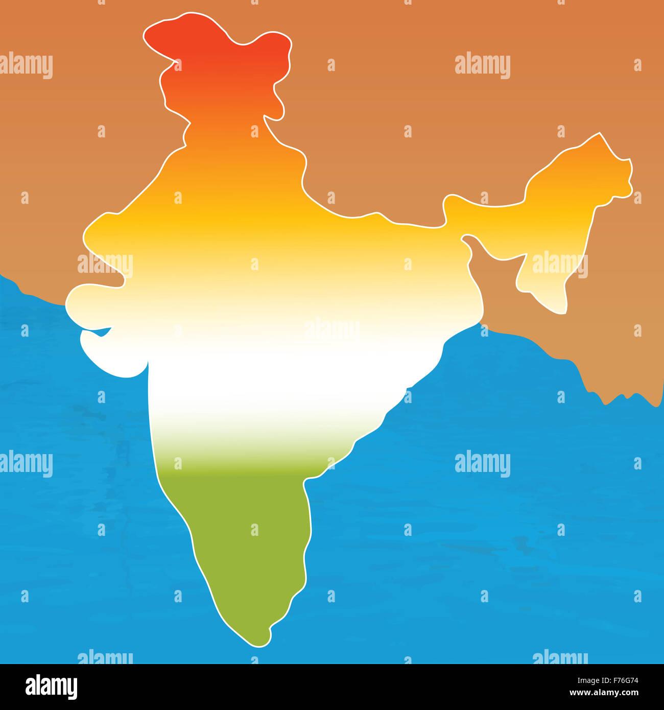 Mapa de contorno de la India en tres colores Imagen De Stock