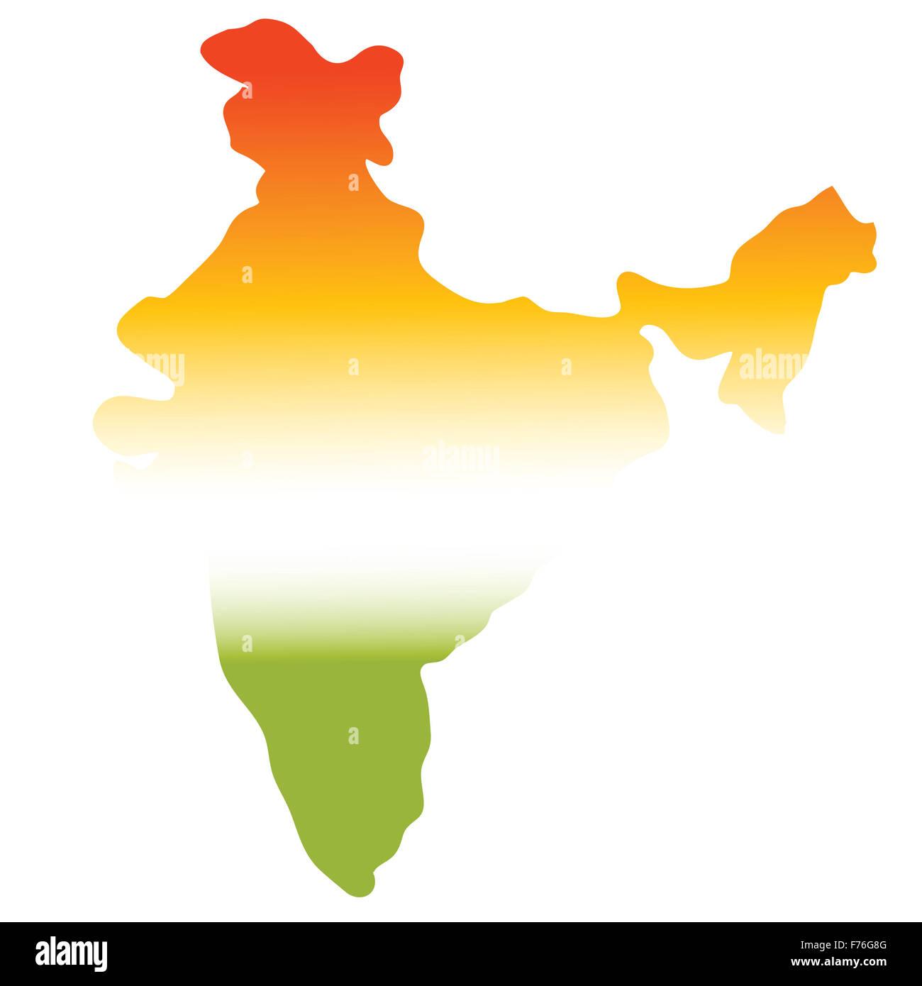 Mapa de la India en tres colores, verde, blanco, naranja Imagen De Stock