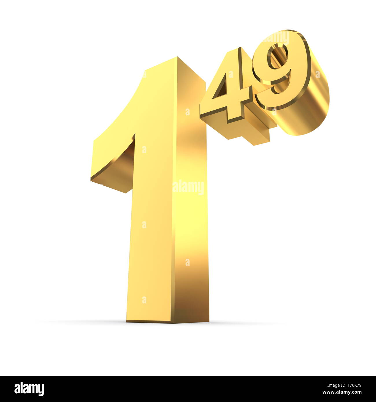 Número de etiqueta de precio sólido 1.49 - Oro brillante Imagen De Stock