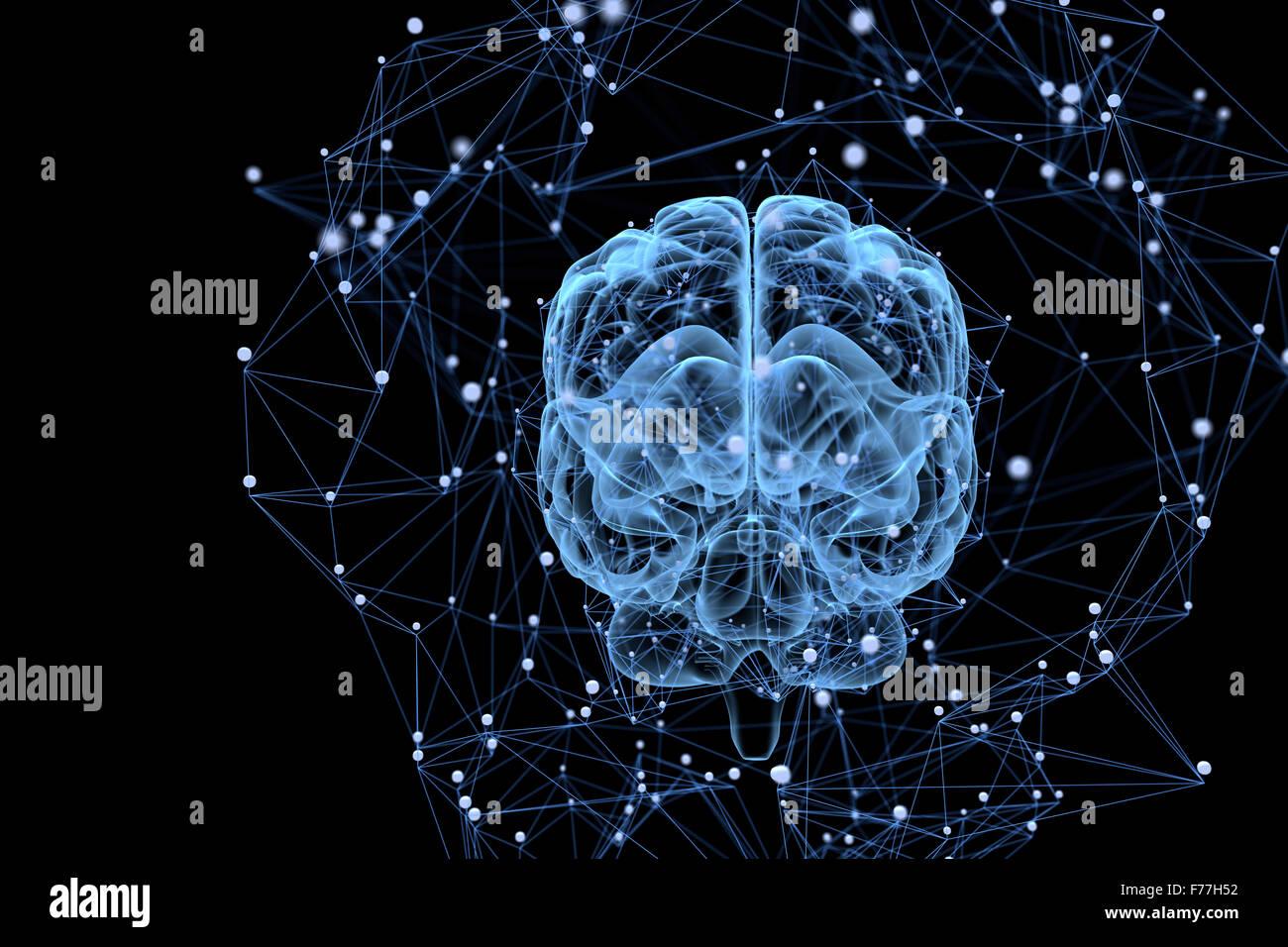 Ilustración de los procesos de pensamiento en el cerebro Imagen De Stock