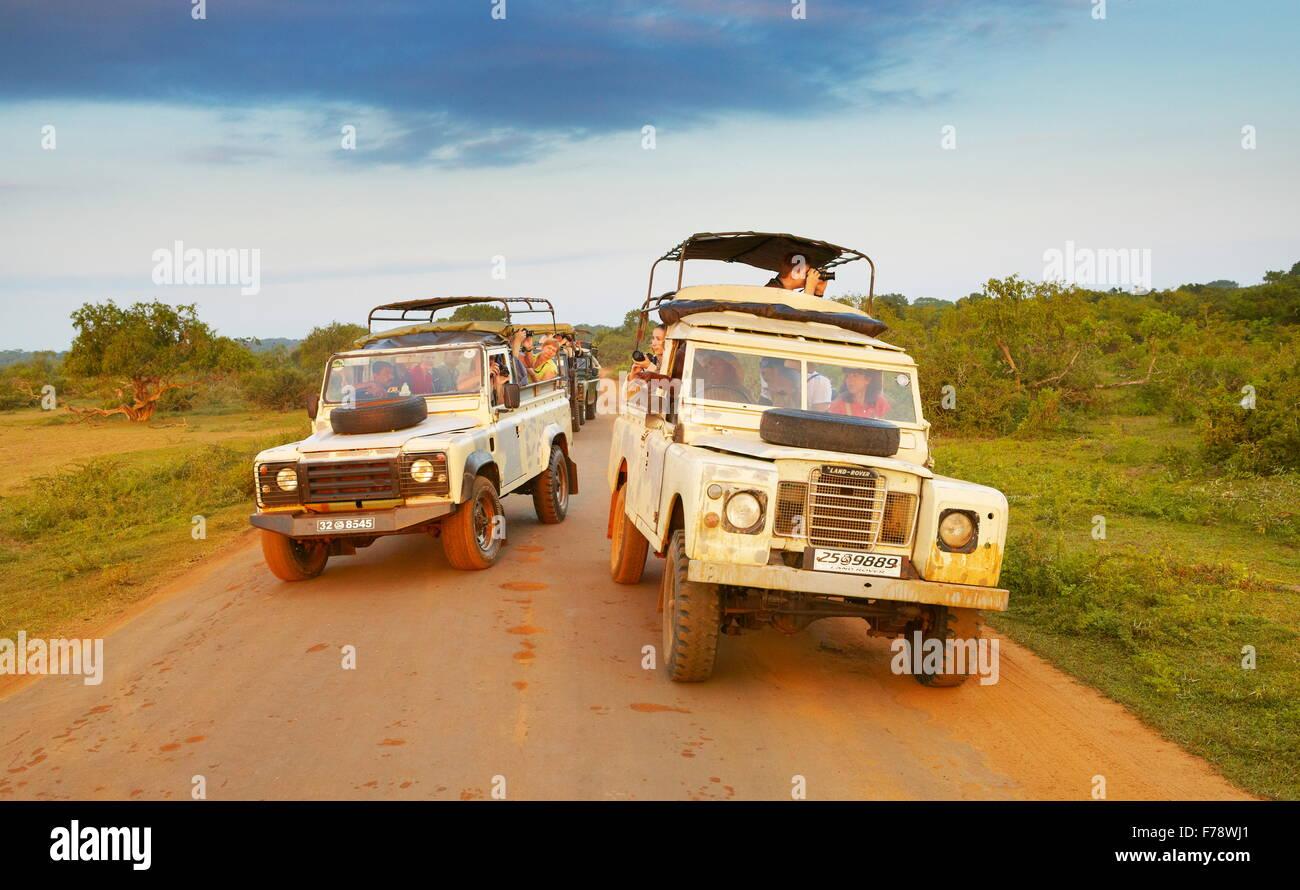 Sri Lanka - El Parque Nacional de Yala, off road jeep safari Imagen De Stock