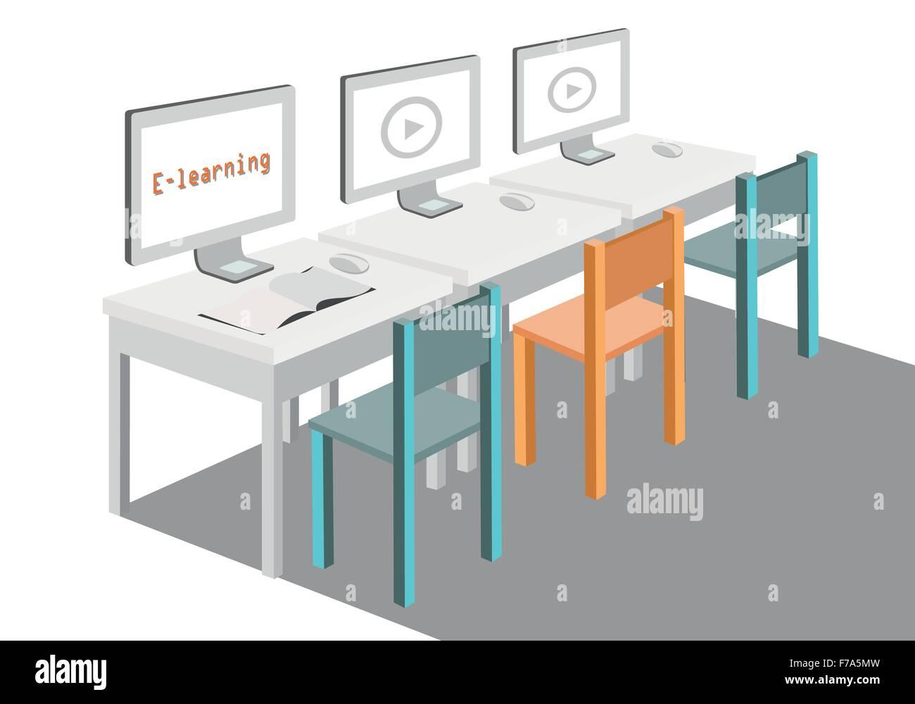 Concepto de e-learning acerca de estudiar en casa ilustración vectorial Ilustración del Vector