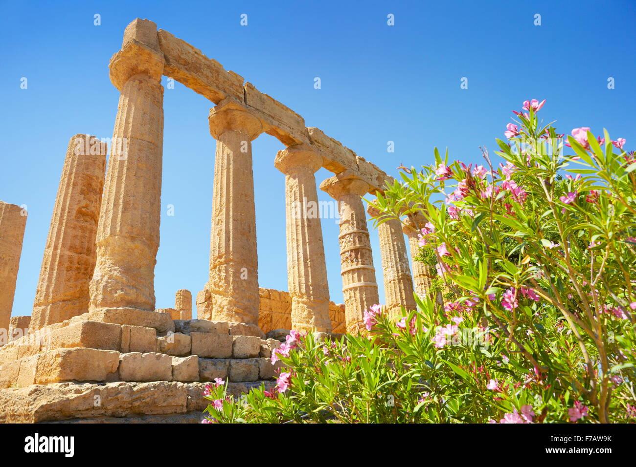 Templo de Hera en el Valle de los templos (Valle dei Templi, Agrigento, Sicilia, Italia LA UNESCO Imagen De Stock