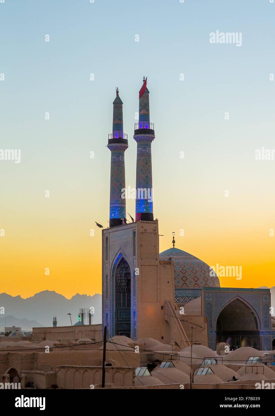 Jameh Masjid o Mezquita del Viernes, la provincia de Yazd, en Yazd, Irán Imagen De Stock