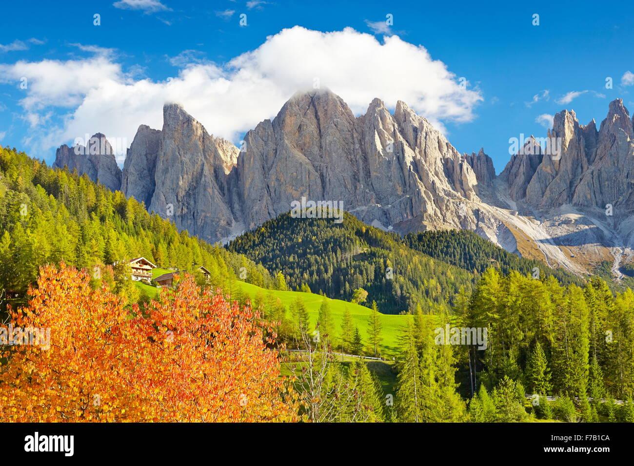 Los paisajes de las montañas Dolomitas en otoño, provincia de Tirol, Alpes, Italia Foto de stock