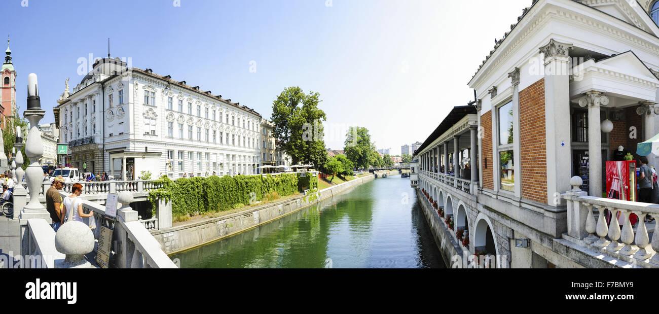 Ljubljana, tres puentes (Plecnik), Eslovenia Imagen De Stock