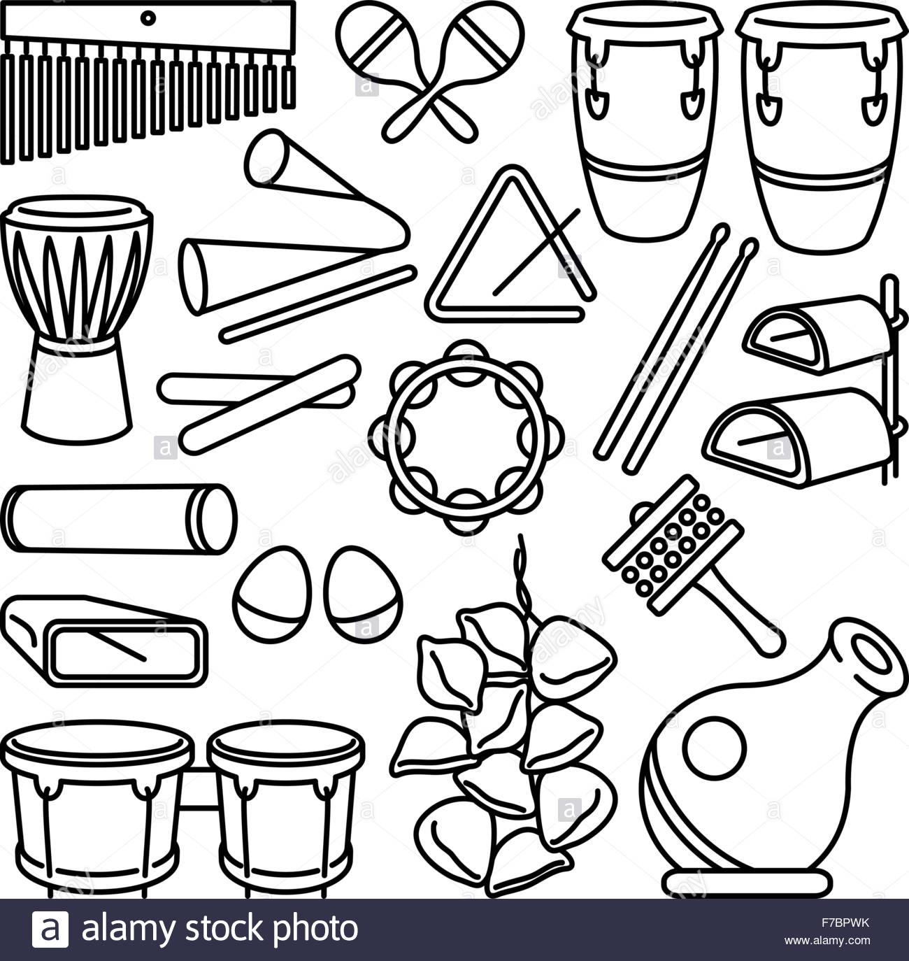 Instrumentos de percusión latina conjunto de iconos sobre fondo blanco. Ilustración del Vector