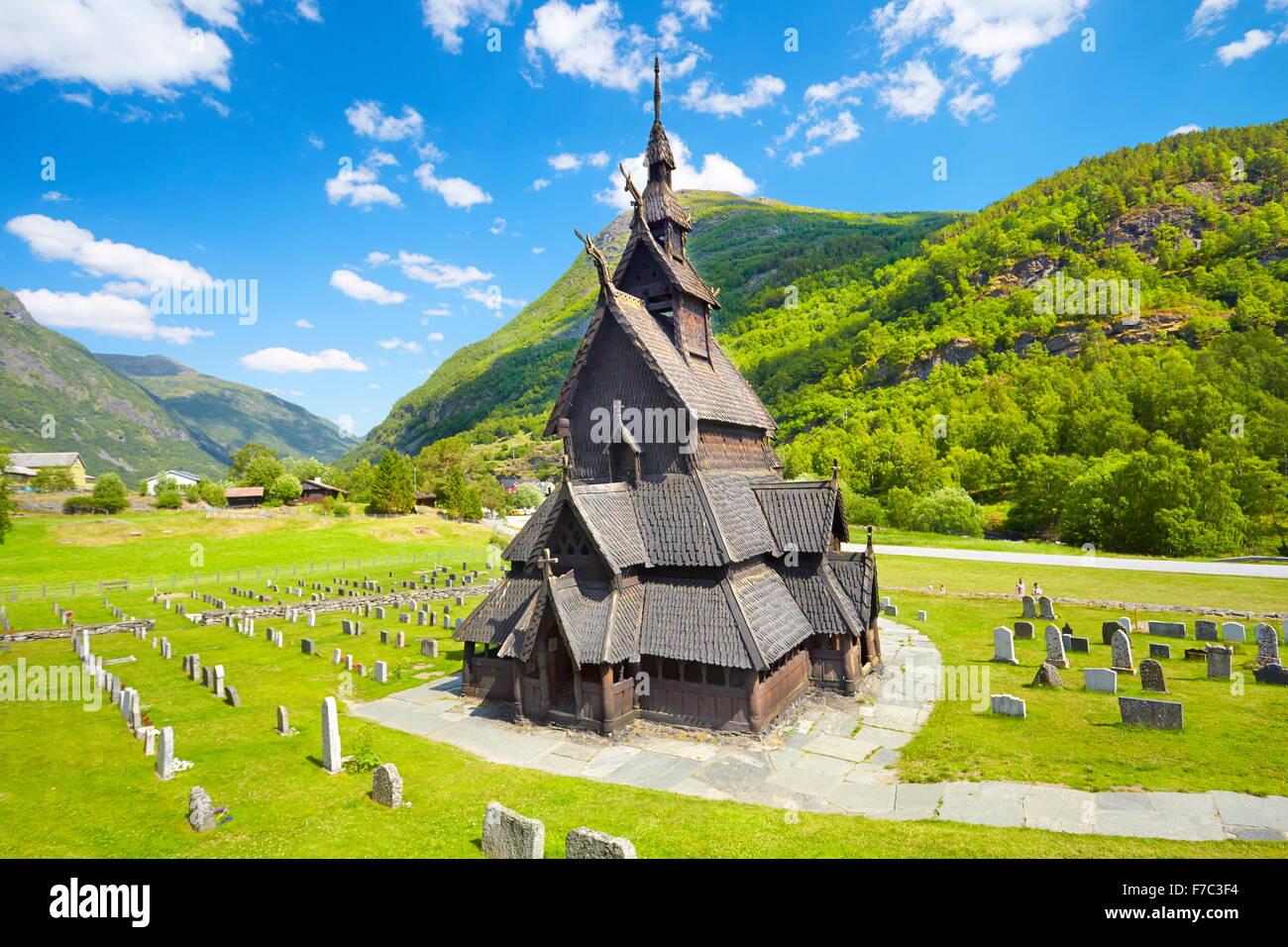 Iglesia de Borgund Stave, Sogn og Fjordane, Noruega Foto de stock