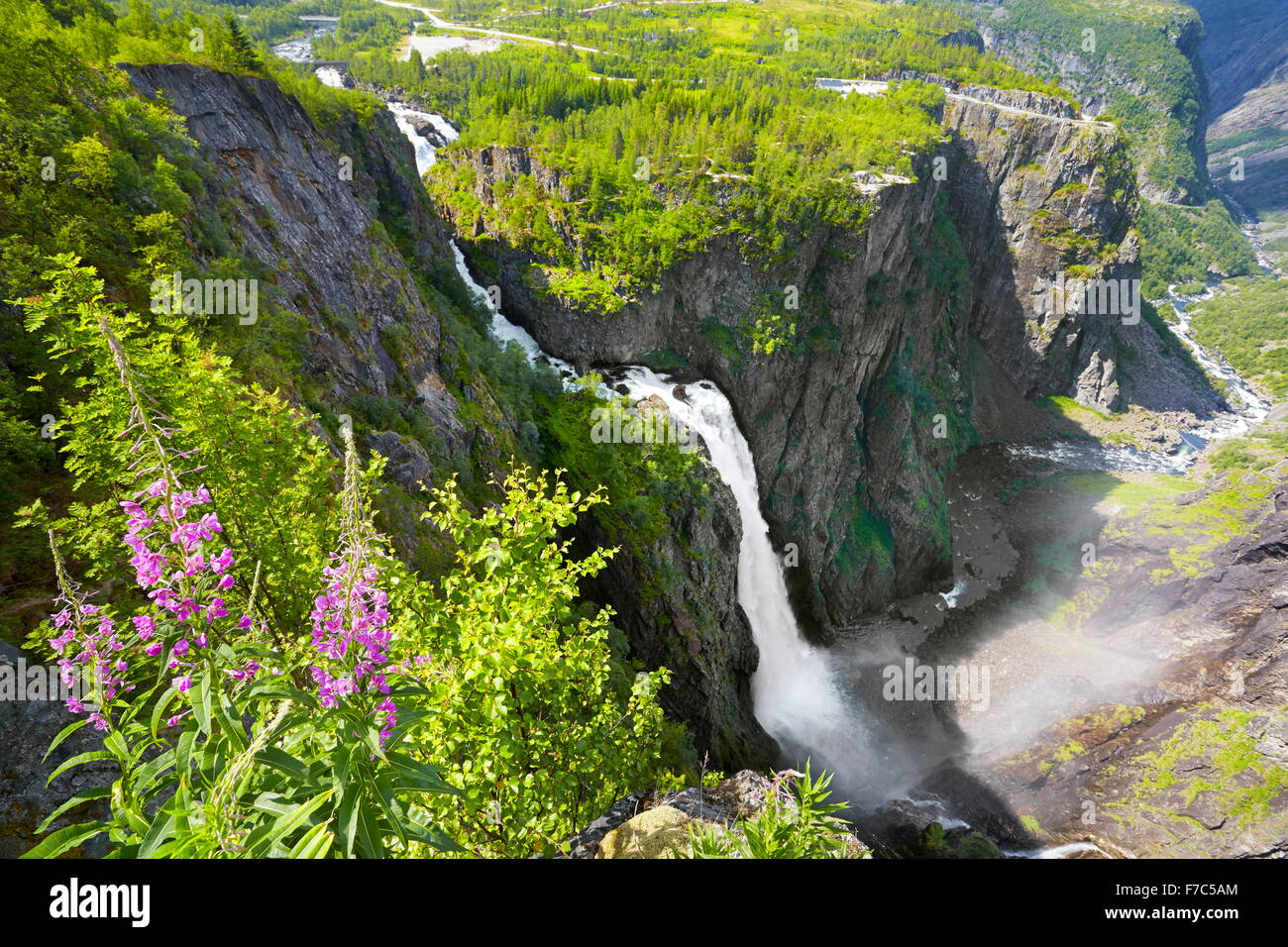 La cascada Voringfossen Hordaland, Noruega Foto de stock