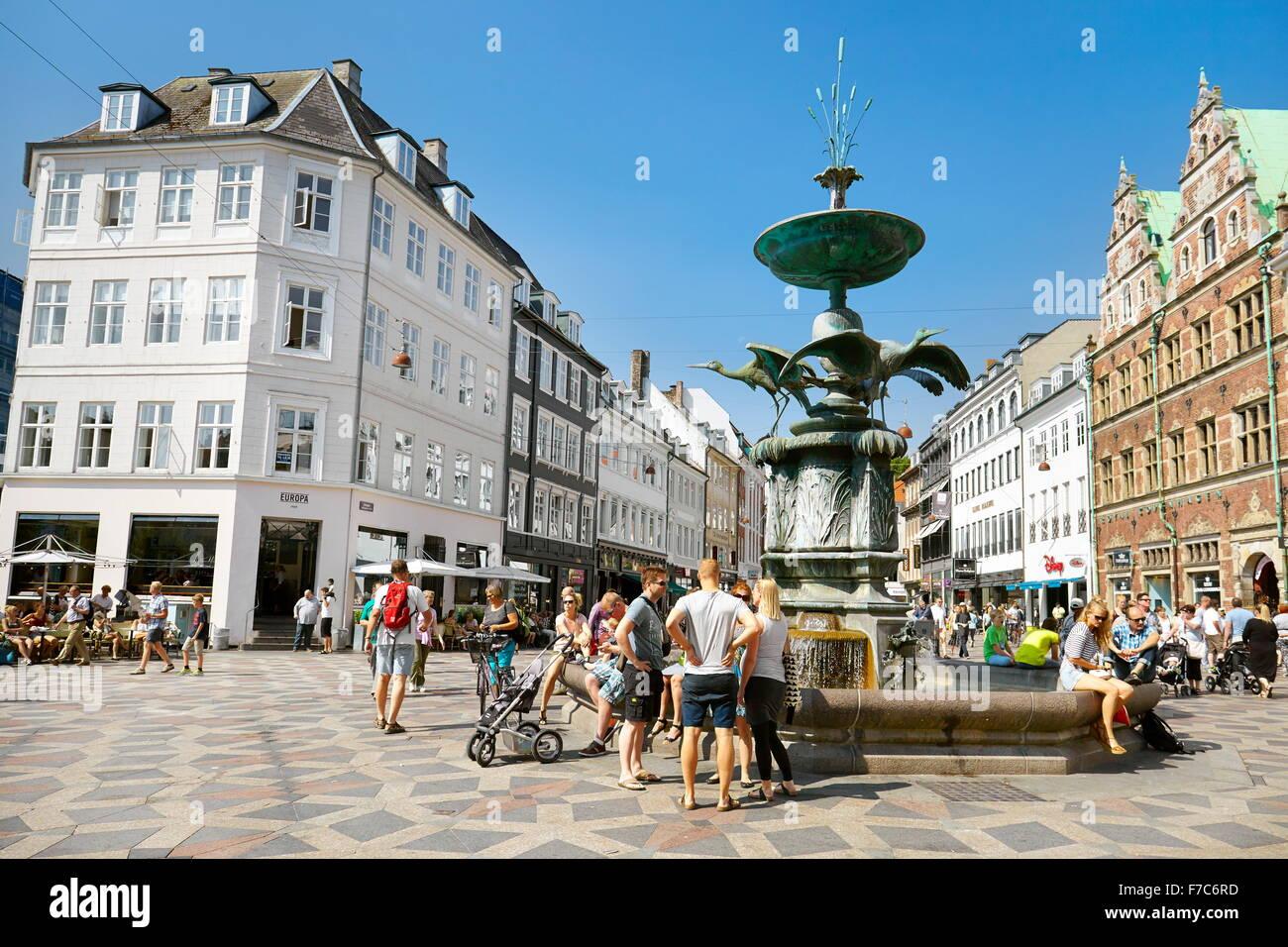 Torv Plaza, Stroget, la ciudad de Copenhague, Dinamarca Imagen De Stock