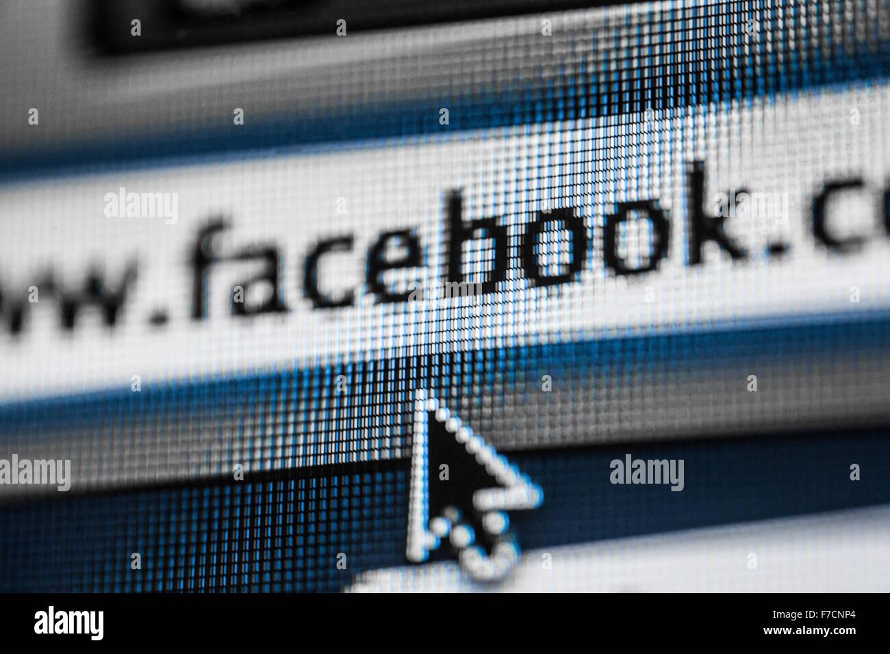 Una fotografía de la dirección de la página web de Facebook Imagen De Stock