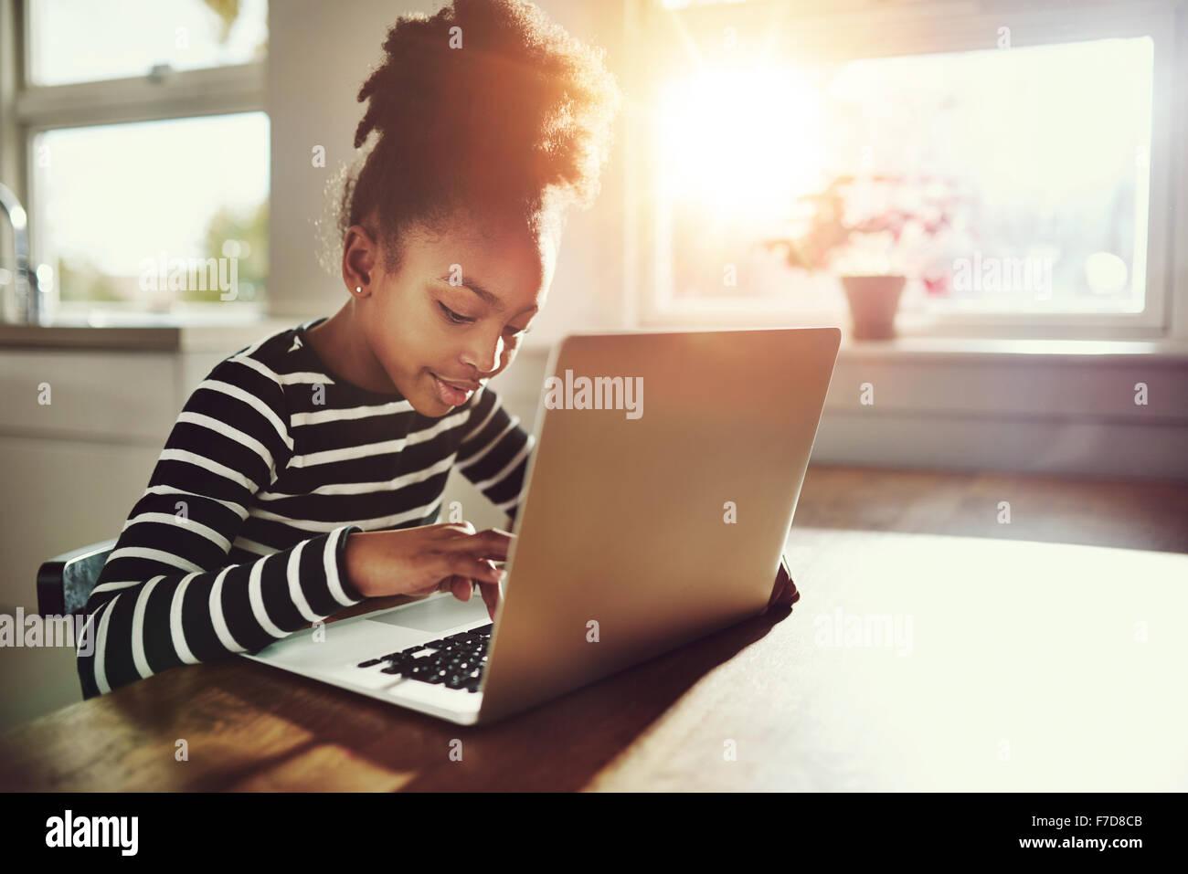 Chica étnicas con un lindo peinado afro sentada en su casa utilizando un ordenador portátil para realizar Imagen De Stock